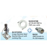 """RA107SSFME - STAINLESS STEEL 4 WAY RATCHED MOUT with cable slot - 1""""x14 thread"""